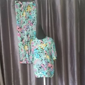 1980's Tropical Bird Floral Outfit Top and Pants M